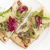 Fennel and cheese pie with fennel, apple, and radicchio,