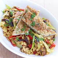 Fried rice with shredded sesame omelet,