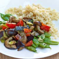 Spicy mushrooms and eggplant with sliced green beans,