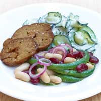 Three bean salad with seitan and tsatsiki ,