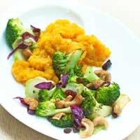 Fried broccoli on mashed squash,