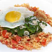 Bulgur with baby spinach and Parmesan, yogurt sauce and fried egg,