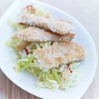 Crispy-coated marinated tempeh with macadamia coleslaw,