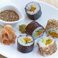 Sushi with sweet-and-sour ginger squash and avocado,