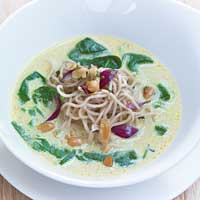Lemongrass soup with creamed herbed noodles and roasted peanuts,